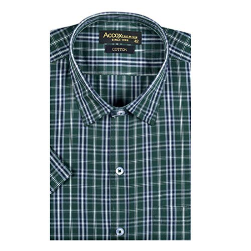 ACCOX Men's Half Sleeves Formal Regular Fit Cotton Check Shirt(Multi,GC177)