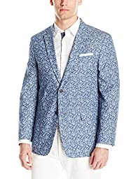 Tommy Hilfiger Men\'s Two Button Pattern Denim Blazer, Blue Paisely, 40 Regular