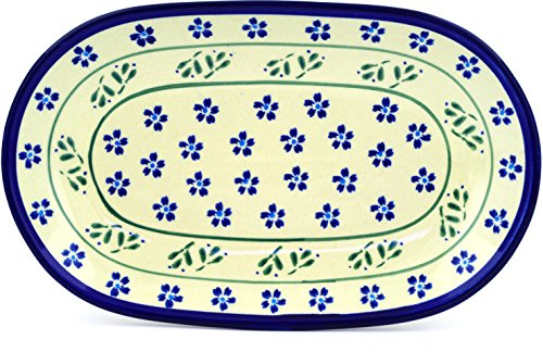 Polish Pottery 10½-inch Oval Platter (Daisy Field Theme) + Certificate of Authenticity