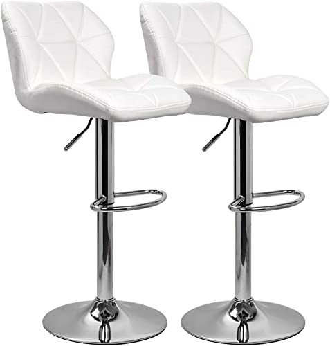 KYOTECH Modern PU Leather Adjustable Swivel Bar Stools with Backs, Set of 2, Home Kitchen Counter Bar Chair White