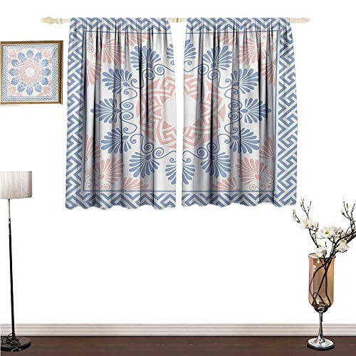(Summerial Greek Key, Bedroom Full Blackout Curtain Panels, Pastel Pink White and Blue Round Floral Grecian Fret Hellenic Ornament, Art Prints Window Treatment, W63 x L63 Inches, Baby Blue Blush)