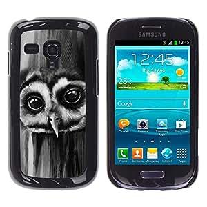 TECHCASE**Cubierta de la caja de protección la piel dura para el ** Samsung Galaxy S3 MINI NOT REGULAR! I8190 I8190N ** Owl Night Big Eyes Bird Forest Black White