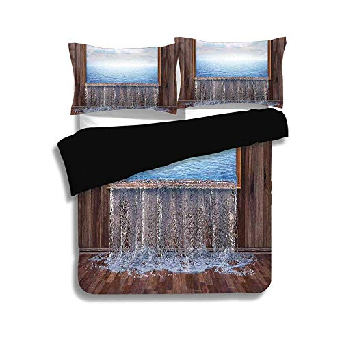 - ALLMILL Black Duvet Cover Set Twin Size,Waterfall,A Surreal Image of Ocean Pours into The Ground Nature in Urban Life Modern Art,Blue Brown,Decorative 3 Pcs Bedding Set by 2 Pillow Shams
