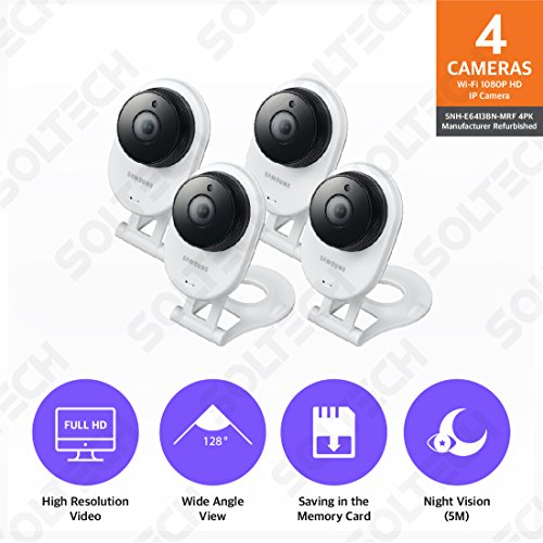 4 Pack SNH-E6413BMR - Samsung HD WiFi IP Camera with 16GB mi
