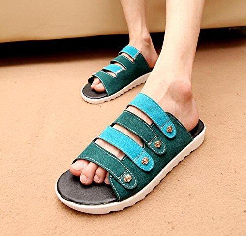 Zapatillas GLTER Nueva Playa Open Toe Zapatos blue Flip Casual Sandalias Verano Flops vFHZvwqrc