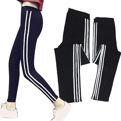 QINB Pantalones de chándal Negros Ajustados a Rayas de Yoga ...