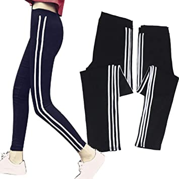 QINB Pantalones de chándal Negros Ajustados a Rayas de Yoga, Tiras ...