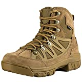 FREE SOLDIER Outdoor Men's Tactical Military Combat Ankle Boots Water Resistant Ligtweight Mid Hiking Boots (Coyote Brown, 9 US)