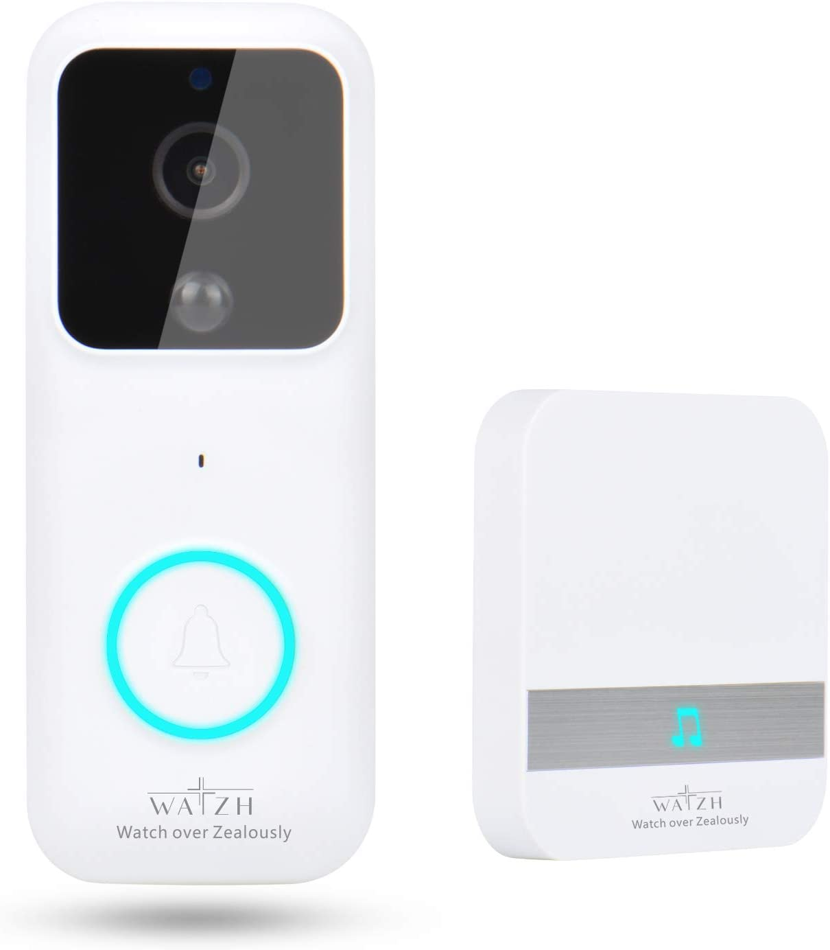 Watzh Video Doorbell, 1080P HD Real-time Video Wireless WiFi Doorbell Camera Smart Doorbell Two-Way Talk with Indoor Chime Night Vision PIR Detection