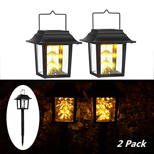 Solar Hanging Lantern Lights, YIPINTANG 43 LED Outdoor Waterproof Warm White Pathway Landscape Light for Garden Patio Tree Lawn Wedding Party Decor (2 Pack)