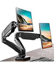FITUEYES Dual Monitor Stand Gas Spring Desk Mount Full Motion LCD Stand Swivel Tilt & Adjustable fit 13-27 inch Screen | VESA 75x75-100x100mm BMA1202MB