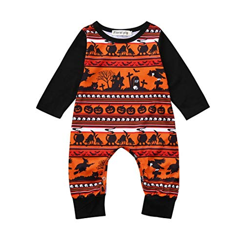 Iuhan  Clearance Sale! Baby Tops Shirts for 0-24Months Kids Toddler Girls Boys Cartoon Print Romper Long Sleeve Jumpsuit Halloween Costume Outfits (6-12Months, Black)