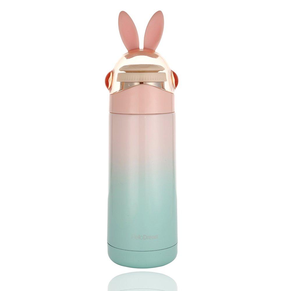 Kids Thermos, Cute Girls Water Bottle (12OZ), Mini Travel Mug, Rabbit Present for Birthday(PINK)