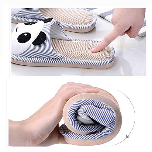 Linen Blue Home Cartoon Unisex Flax Shoes Toe Open Soft Casual 2 Slippers Bear Slide wqgSZ