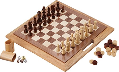 Mainstreet Classics Dutchman 3-in-1 Combo Folding Board Game Set (Backgammon Folding Set Wood)