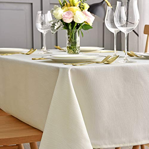 maxmill Jacquard Table Cloth Waving Pattern Water Resistant Wrinkle Resistance Oil Proof Heavy Weight Soft Tablecloth for Kitchen Dining Tabletop Decoration Oblong 60 x 140 Inch Ivory