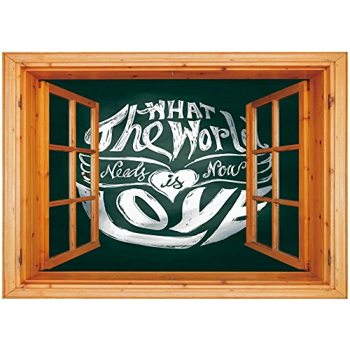 3D Depth Illusion Vinyl Wall Decal Sticker [ Hippie,What the World Needs Now is Love Quote Lettering Art Circle Grunge Typography Decorative,Dark Green White ] Window Frame Style Home Decor Art Remova