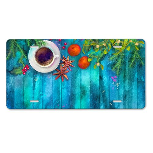 Elvira Jasper Christmas Flower Blue Background Car Aluminum License Plate (Jasper Plate Christmas)