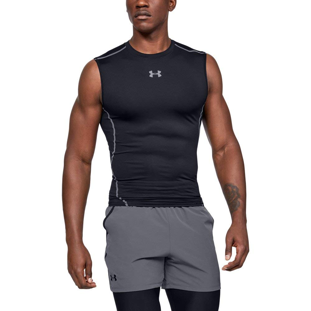 Under Armour Men's HeatGear Armour Sleeveless Compression Shirt, Black /Steel, X-Large