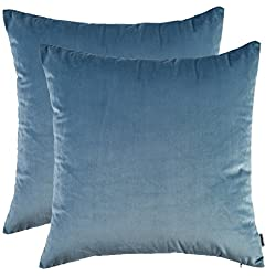 "Set of 2, Artcest Cozy Solid Velvet Throw Pillow Case Decorative Couch Cushion Cover Soft Sofa Euro Sham with Zipper Hidden, 18""x18"" (Light Blue)"
