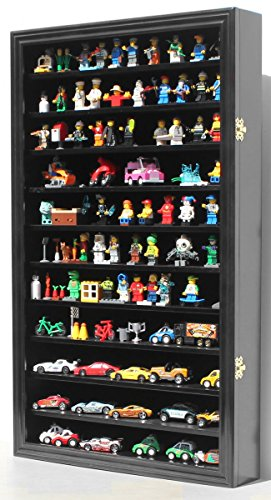 1 64 Toys Cars Wheels Matchbox Diecast Display Case Cabinet Wall Rack w with Lockable Door Hot-HW11 Black Finish