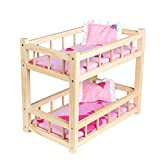 Dolls Wooden Bunk Bed for Two Dolls with Bed Linen Set