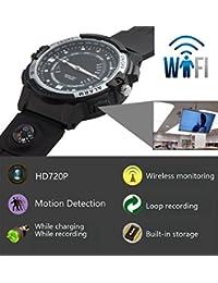 fannuoyi Wifi Smart Wrist Watch Sport Camera Mini P2P Wireless IP Camera Pocket Mini DVR WIFI Watch Bicycle Video Recorder (Built in 32GB)