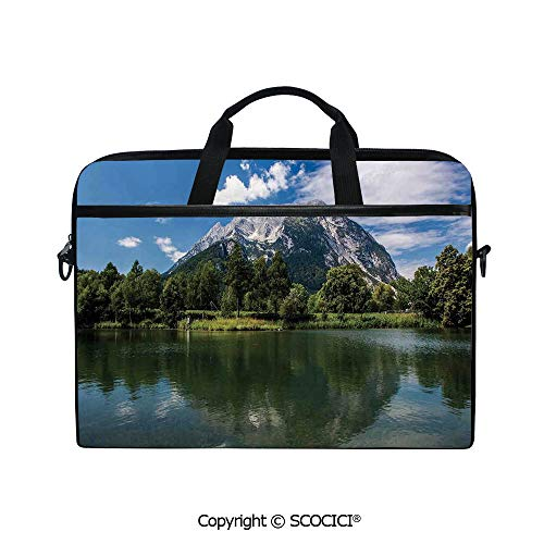 Laptop Sleeve Notebook Bag Case Messenger Shoulder Laptop Bag Scenery of Mountain and Calm Lake at High Austrian Alps with Forest with Handle and Extra Side Pockets