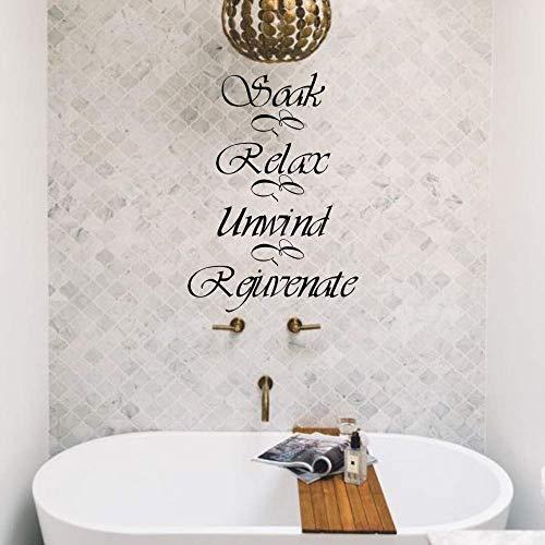 FlyWallD Bathroom Wall Decal spa Relax Refresh Renew Bathroom Decor Vinyl Art Decor-Soak Relax Unwind Rejuvenate