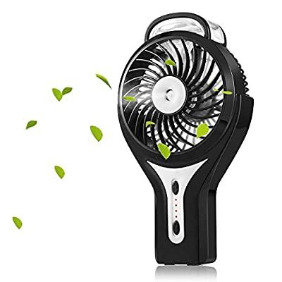 Welltop Mini Handheld USB Misting Fan with Personal Cooling Mist Humidifier Rechargeable Portable Mini Misting Cooling Fan for Home Office and Travel