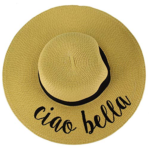 (C.C Fun Verbiage Elegant Wide Brim 4\ Summer Derby Beach Pool Floppy Dress Sun Hat Natural (ciao)