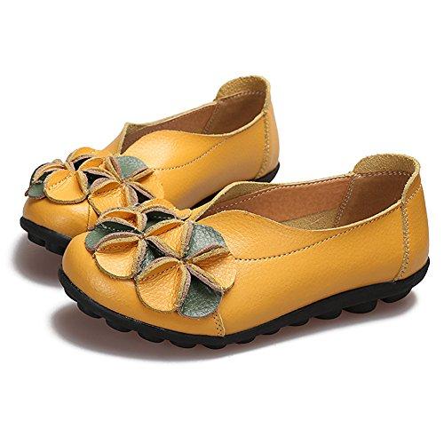 Btrada Dames Bloemen Instappers Schoenen Zacht Rijdende Mocassins Schoenen Antislip Platte Slippers Moeder Schoenen Geel