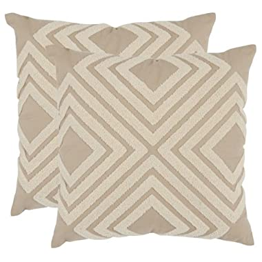 Safavieh Pillows Collection Stella Decorative Pillow, 18-Inch, Cream, Set of 2