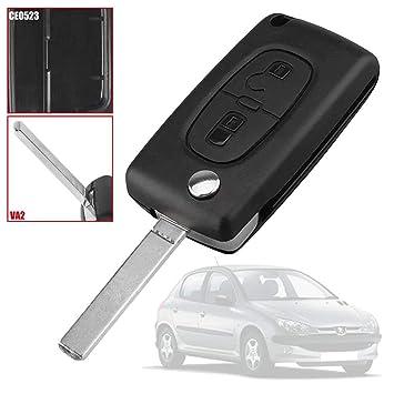 Mando Llave Funda Carcasa CE0523 VA2 Key Case para Peugeot 206 207 306 307 308 407 607 806, Citroen C2 C3 C4 C5 C6