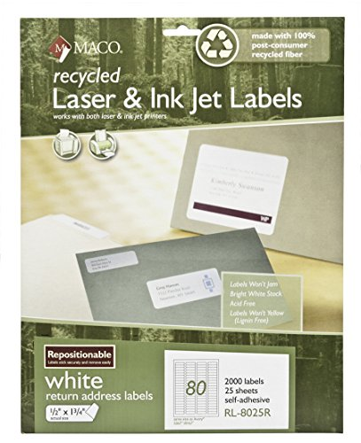 Recycled Address Labels - MACO Recycled Repositionable Laser/Ink Jet White Return Address Labels, 1/2 x 1-3/4 Inches, 80 Per Sheet, 2000 Per Pack (RL-8025R)