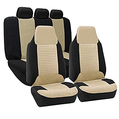 FH Group FH-FB107115 Trendy Corduroy Car Seat Covers, Airbag Compatible and Split Bench, Beige/Black Color