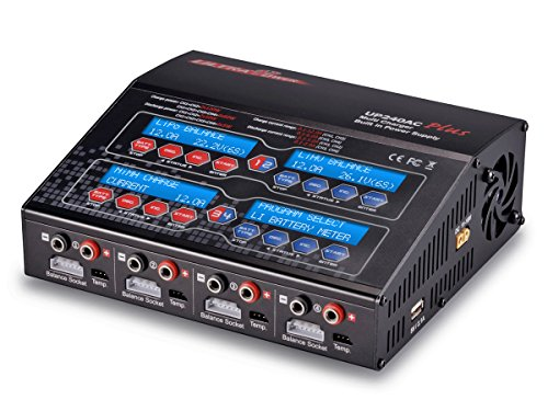 UP240AC Plus Quad 4 Port Balancing Battery Charger (4x 6Amp, 2x 12Amp, 240Watts Total) LiPo LiHV LiIon LiFe NiCd NiMH Pb AC/DC Multi-Chemistry 300W Power Supply USB Charge Port Phones/Tablets WARRANTY - Multi Chemistry Control