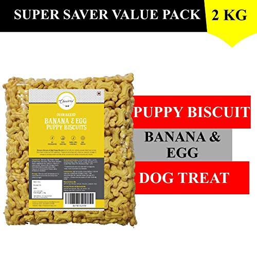 Chewers Oven Baked Real Banana & Egg Puppy Biscuits, Protein Rich Dog Treat 1 Kg (Pack of 2)