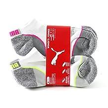PUMA Women's No Show Sports Socks - 6 Pairs, Shoe Size 5 to 9.5, (White/Grey)