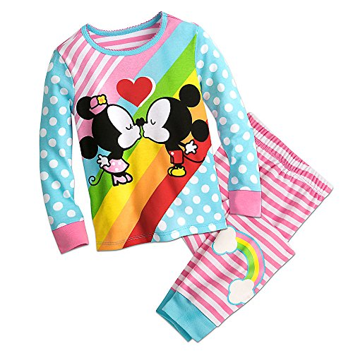 Disney Mickey and Minnie Mouse Kiss PJ Pals Pajamas Size 6
