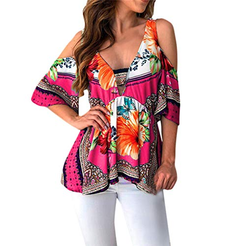 Fiaya Women Sexy Tunic Folk Floral Tops Short Sleeve Deep V Neck Cold Off Shoulder Loose Sweatshirt Blouse Tees (XL, Hot Pink A01)