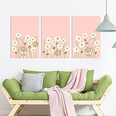 3 Panel Canvas Wall Art - Small White Flowers on Light Coral Color Background - Giclee Print Gallery Wrap Modern Home Art Ready to Hang - 24