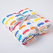 NANPIPER Cotton Muslin Baby Bath Towel, Super Soft and Water Absorbent, 6 Layers Muslin Cotton Warm Baby Blanket for Newborn Infant, Size 42x42 Inches, 1Pcs (Cars)