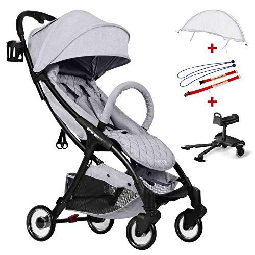 Compact Stroller 2020 Ultra Lightweight Baby Stroller + Baby Stroller Glider Board + Universal Mosquito Net + Universal Car Seat Adapter Light Grey & White