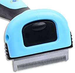 Dog And Cat Deshedding Tool - By Tails Pet Supply Reduces Shedding up to 90% - Veterinarian and Groomer Recommended - Can Be Used for All Short Hair, Medium Hair, and Long Hair
