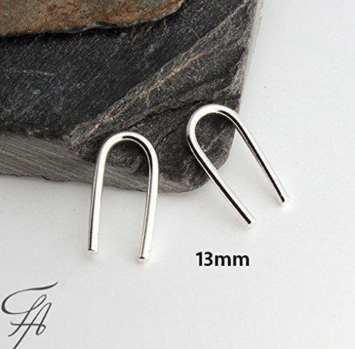 Sterling Silver Ear Hook Earring Open Teardrop Arc Hoop Earrings 13x1mm 18g by Fashion Art Jewelry