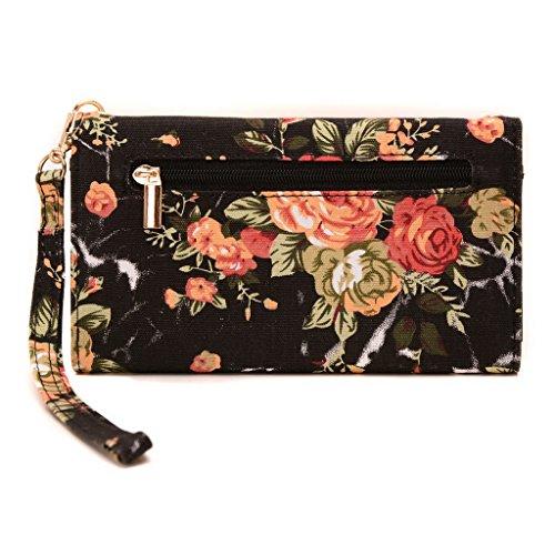 Conze moda teléfono celular Llevar bolsa pequeña con Cruz cuerpo correa para Motorola Moto G/4G Black + Flower Black + Flower