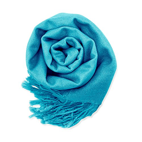 Soft Pashmina Scarf for Women Shawl Wrap Scarves Lady Women's Scarfs in Solid Colors - Teal Blue