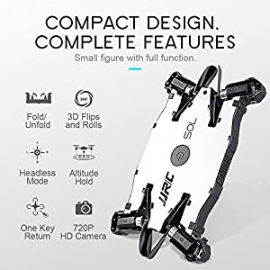 Mini RC Drone JJRC H49 SOL Foldable Ultrathin Wifi FPV Quadcopter Drone with 720p HD Camera,Dual Remote Control Mode Wifi Real-Time Transmission by ENGPOW