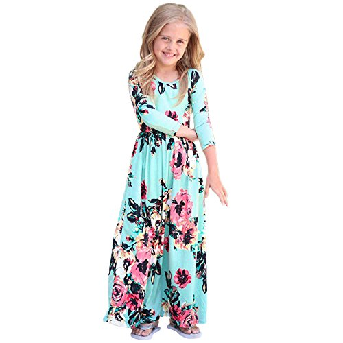 Girls Flower Print Dress 3/4 Sleeve Pleated Casual Swing Long Maxi Dress with Pockets Summer Spring Dresses 2-5Y (Blue, 3T (2-3 Years)) by Cealu (Image #1)